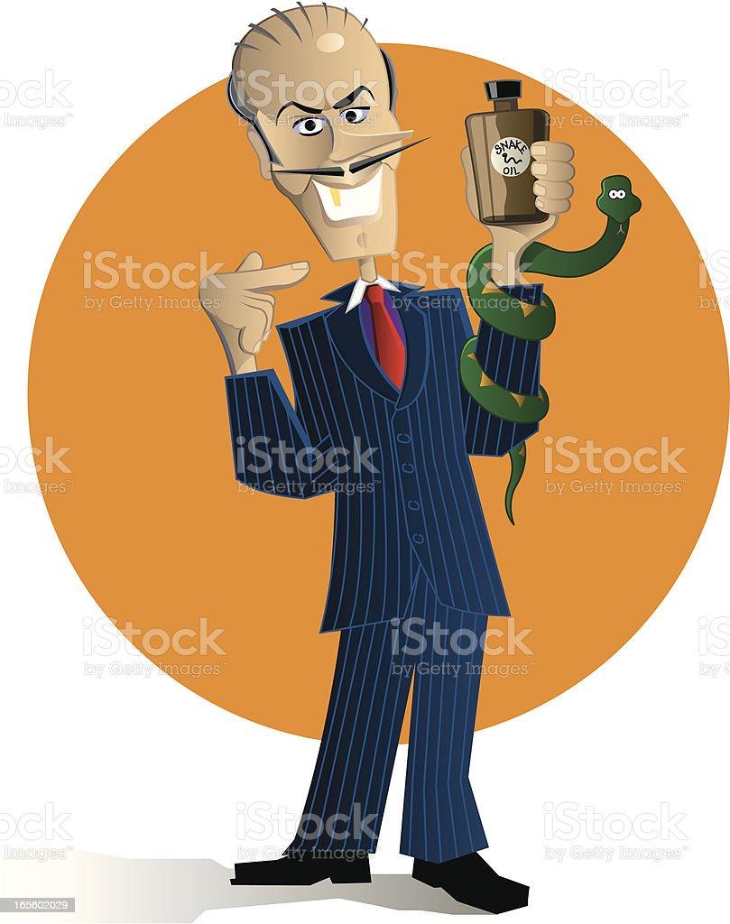 Snake Oil Salesman vector art illustration
