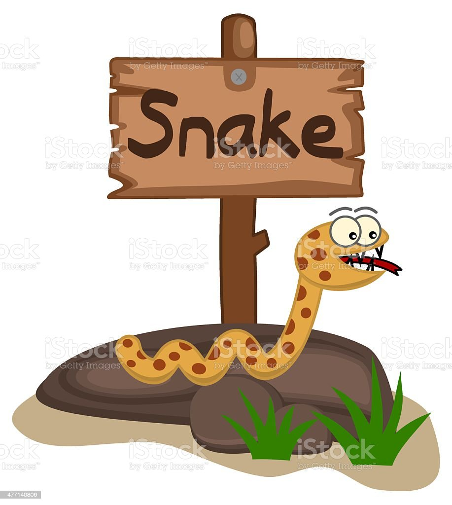 snake on a rock with panel vector art illustration