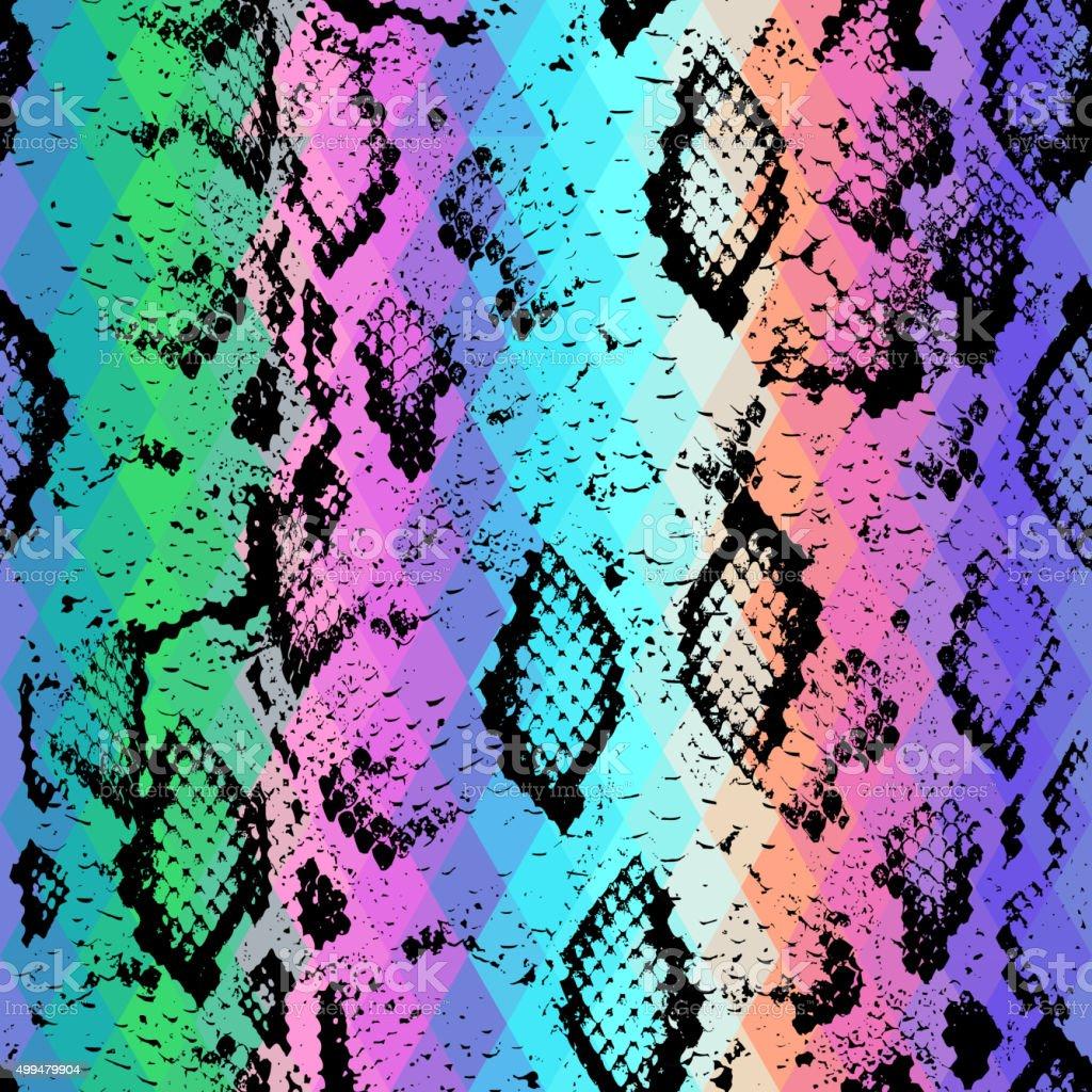 Snake skin texture Geometric background. Seamless pattern black rainbow green vector art illustration