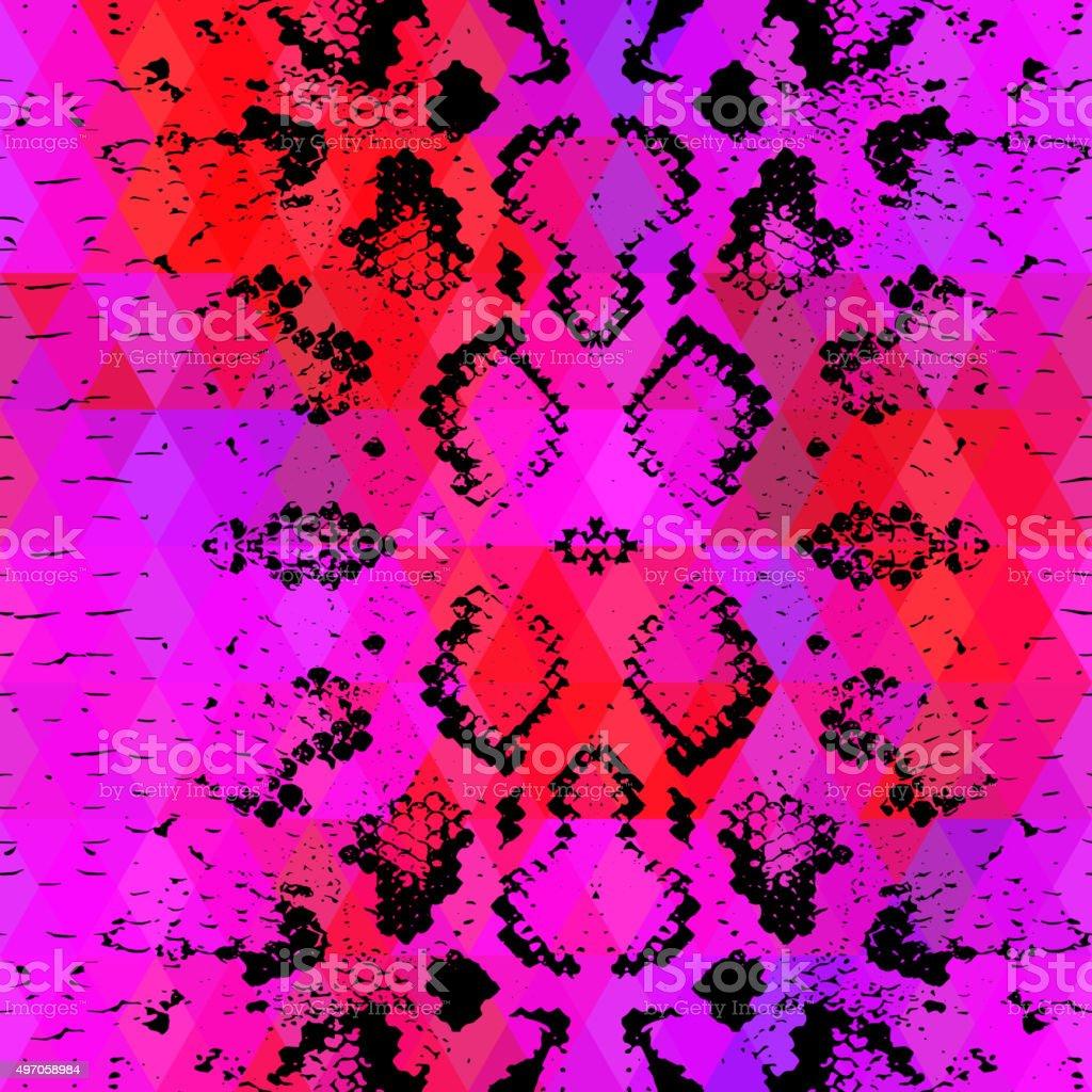 Snake skin texture  Geometric background. Seamless pattern black lilac pink vector art illustration