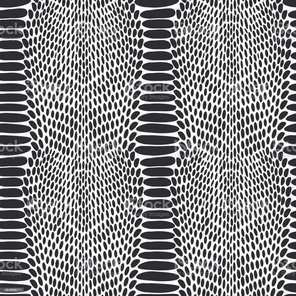 Snake skin texture. Seamless pattern black on white background. vector art illustration