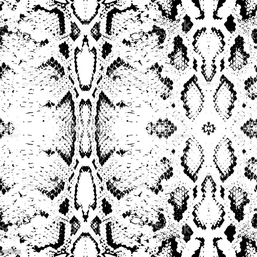 Snake skin texture. Seamless pattern black on white background. Vector vector art illustration