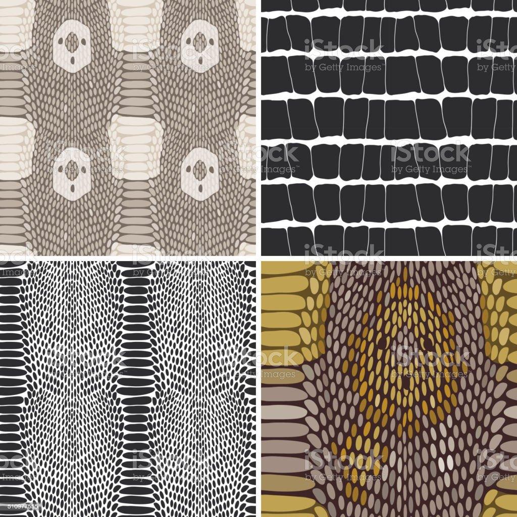 Snake skin texture set. Seamless pattern. Vector vector art illustration