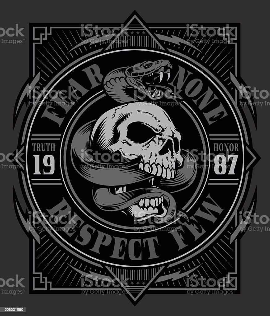 Snake skull graphic design vector art illustration