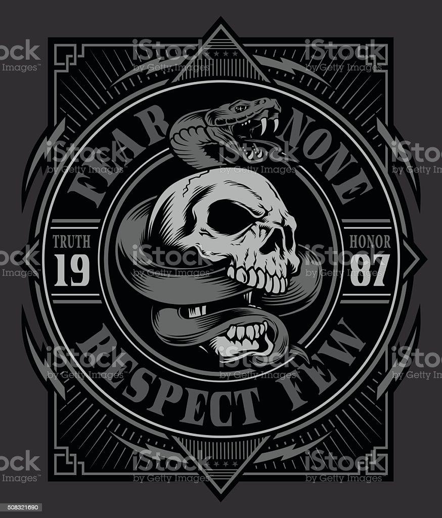 Snake skull graphic design vector art illustration