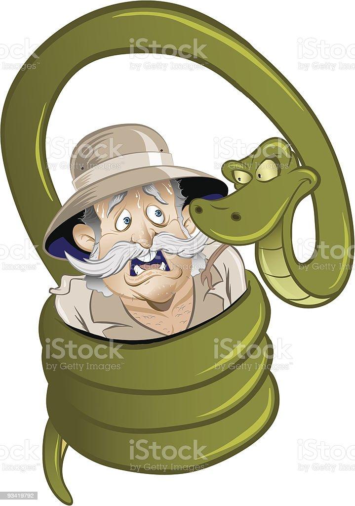 Snake Squeezing Man vector art illustration
