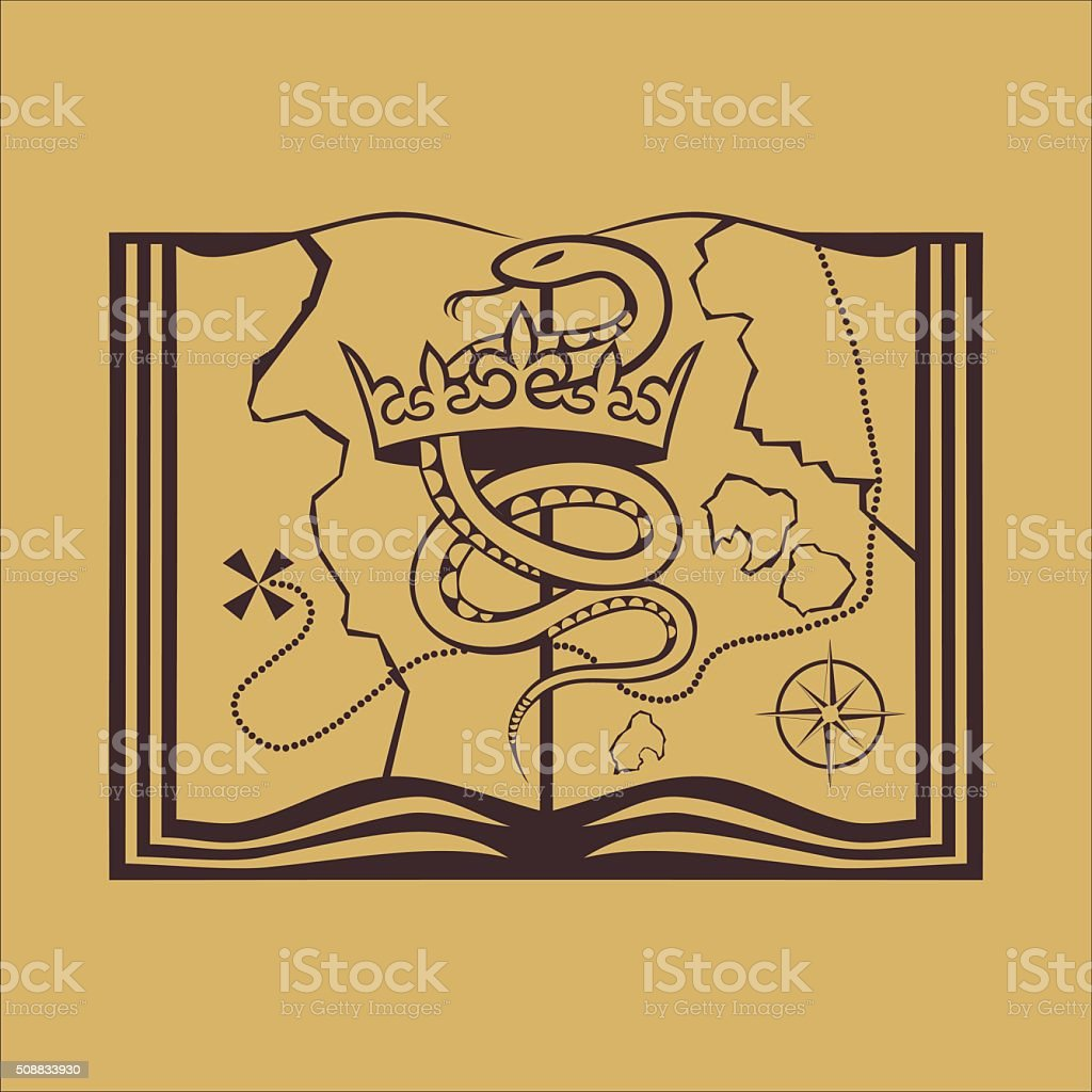 Snake with crown on the treasure map vector art illustration
