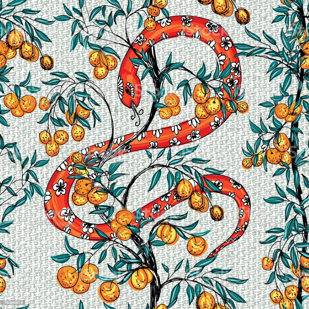Snake With Orange Trees Pattern vector art illustration