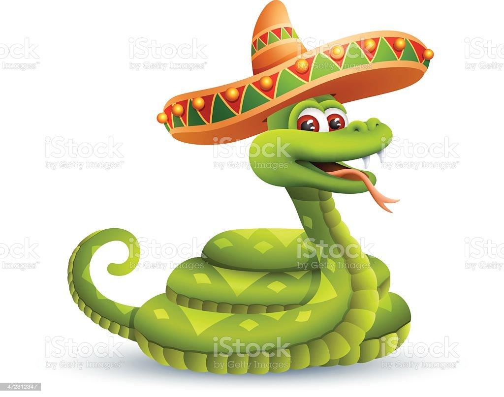 Snake with Sombrero royalty-free stock vector art