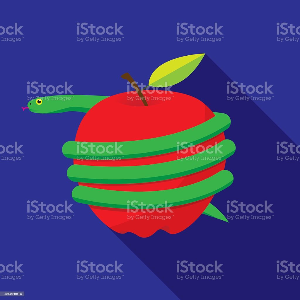 Snake Wrapped Around Apple vector art illustration