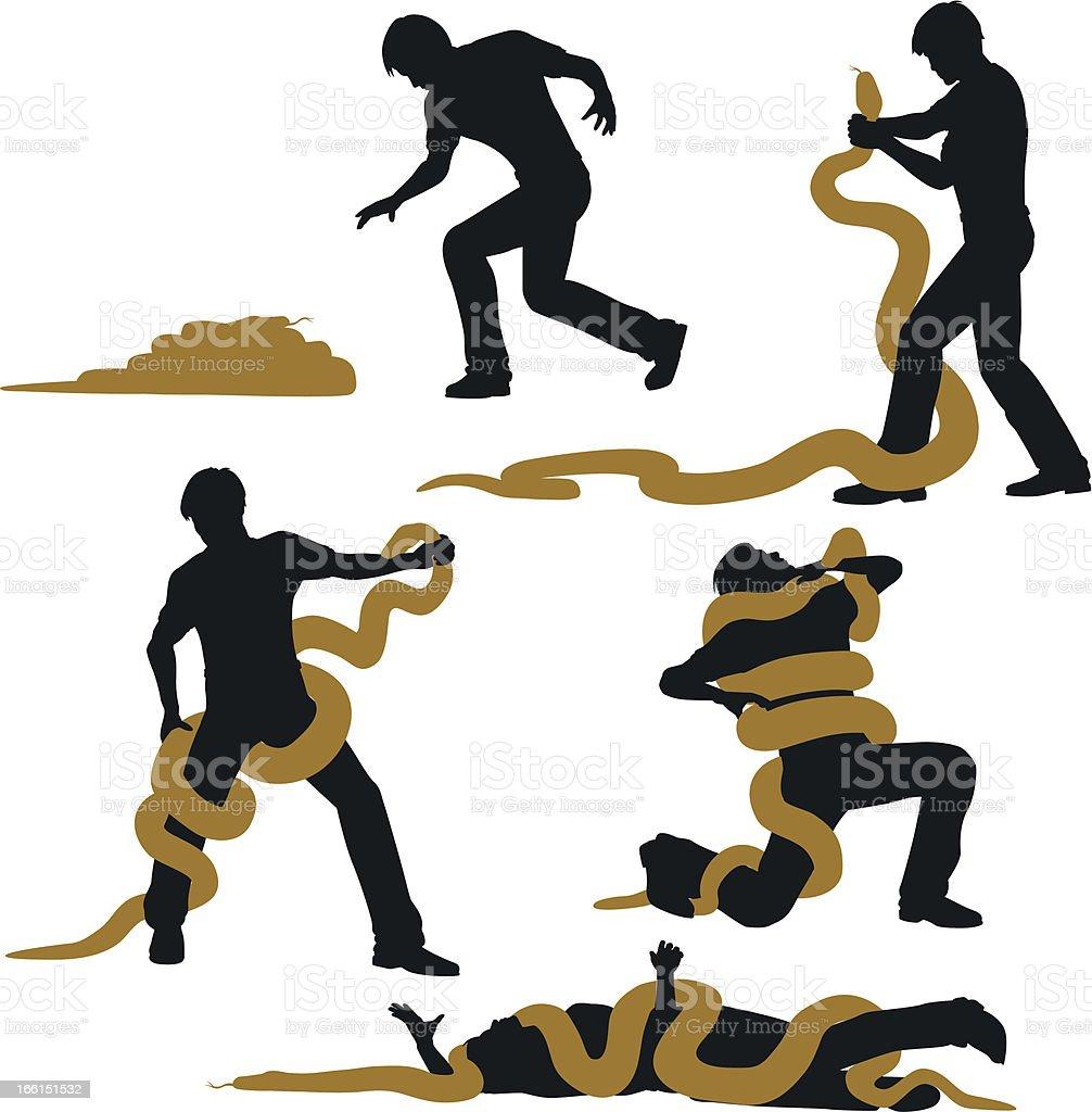 Snake wrestler vector art illustration