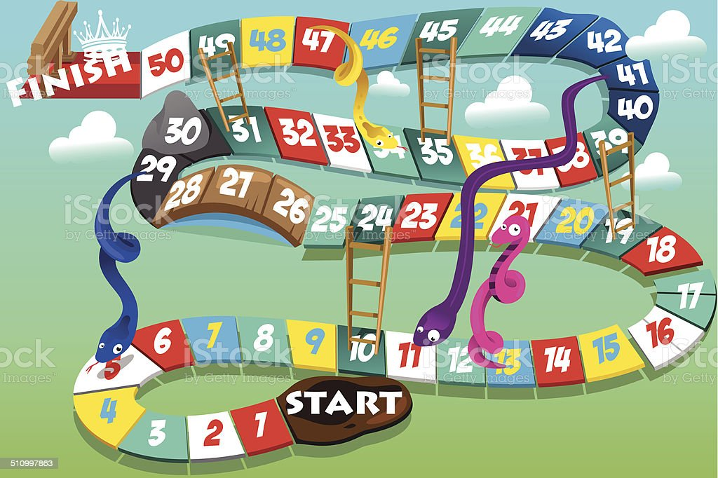 Snakes and ladders game vector art illustration