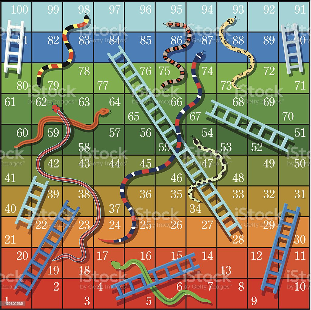 Snakes and Ladders vector art illustration