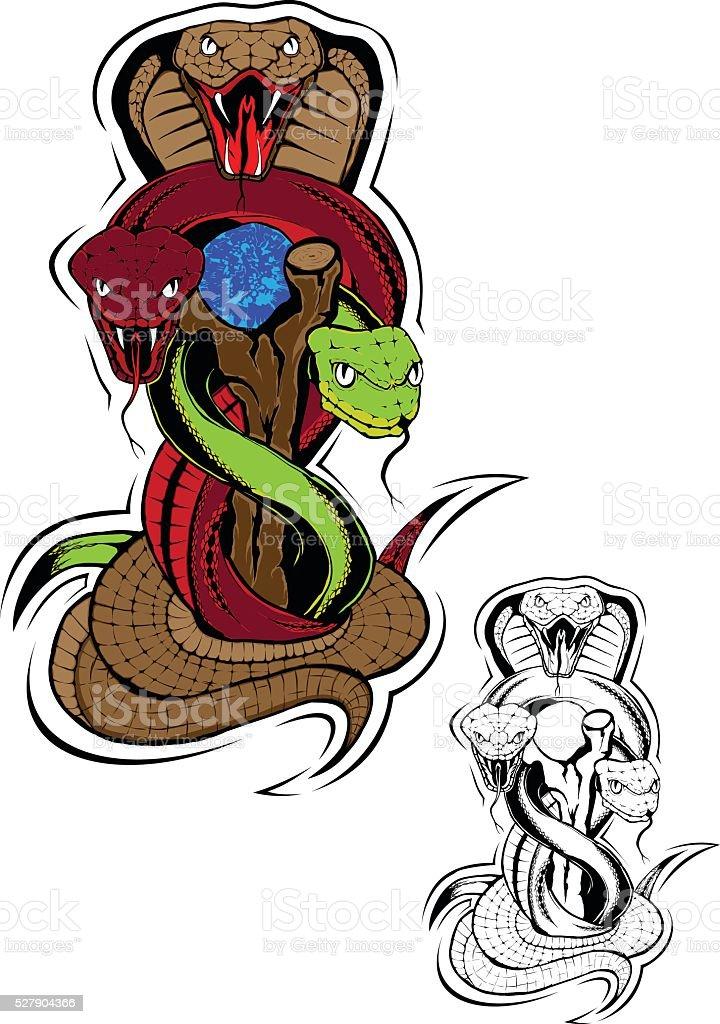 Snakes vector art illustration