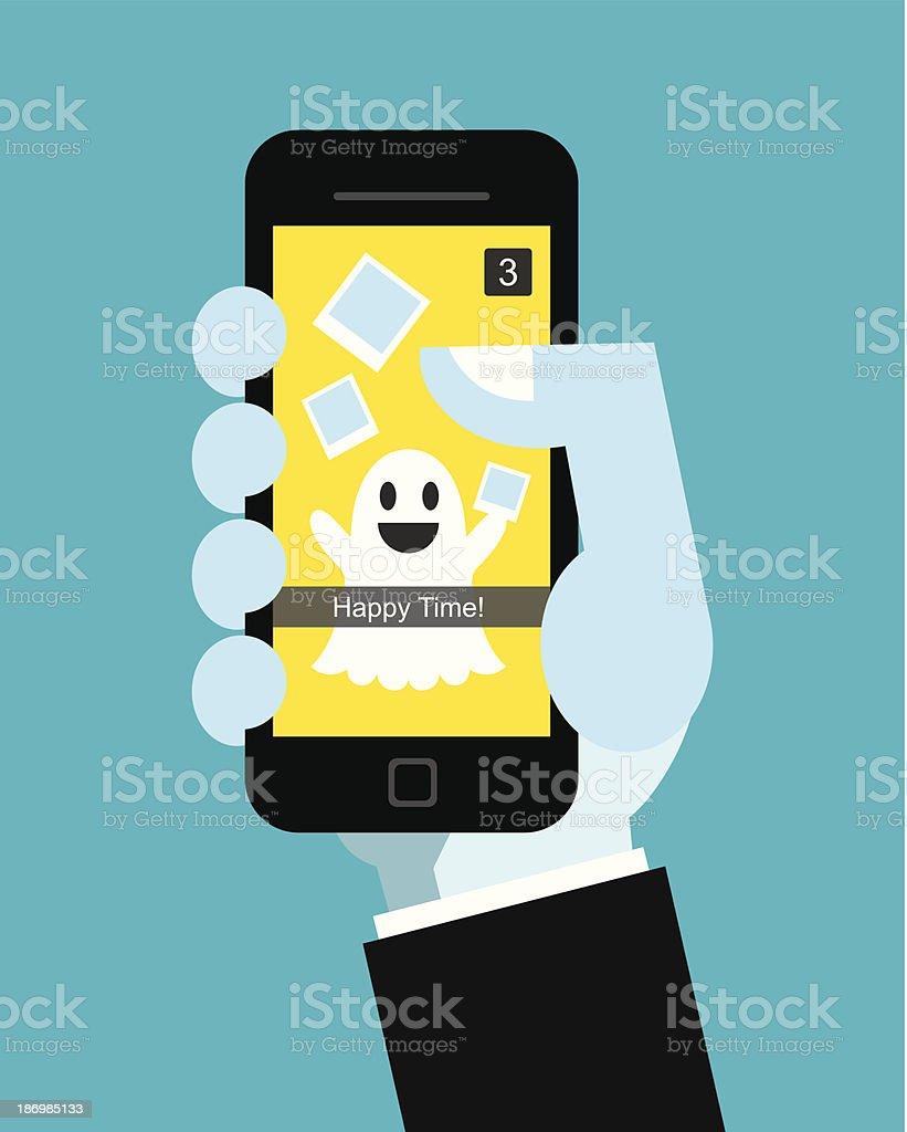 snap a chat vector art illustration