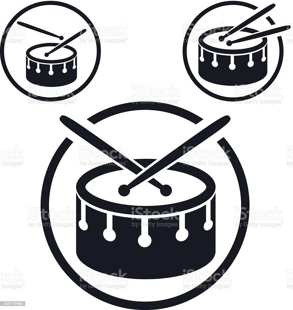 Snare drum icon, single color vector music theme symbol vector art illustration
