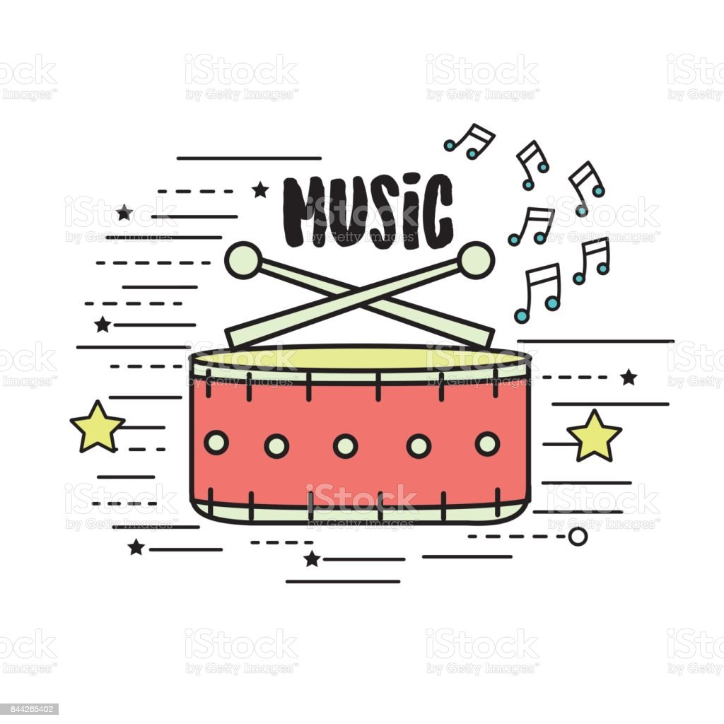 snare drum musical instrument to play music vector art illustration