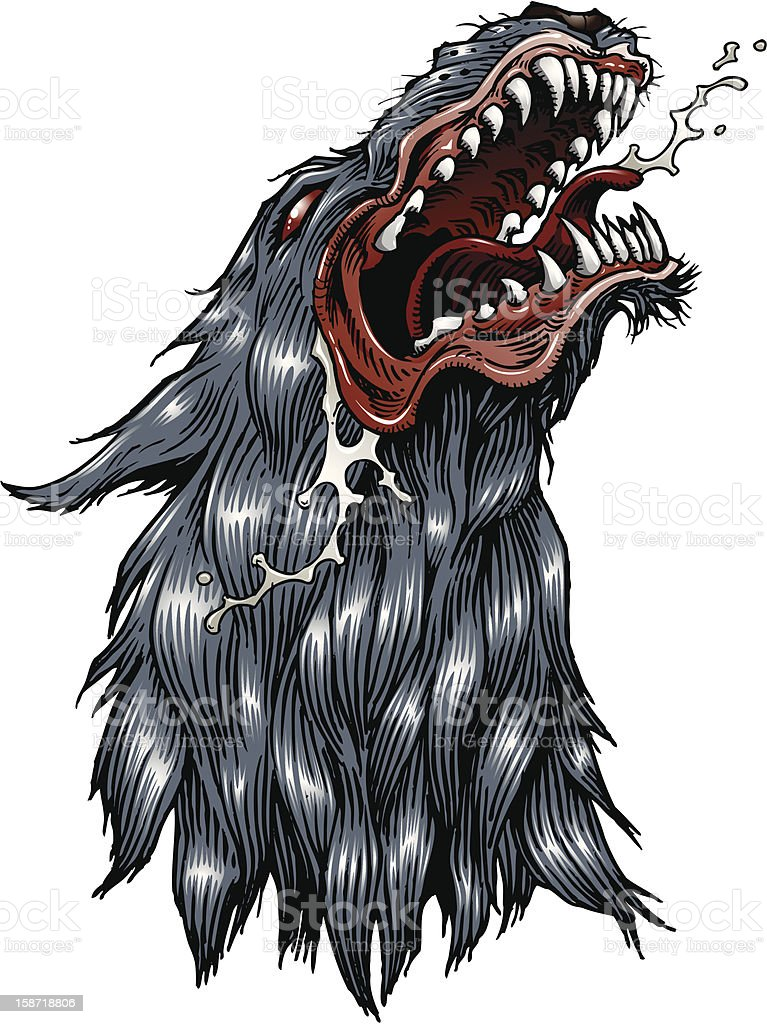 Snarling wolf vector art illustration