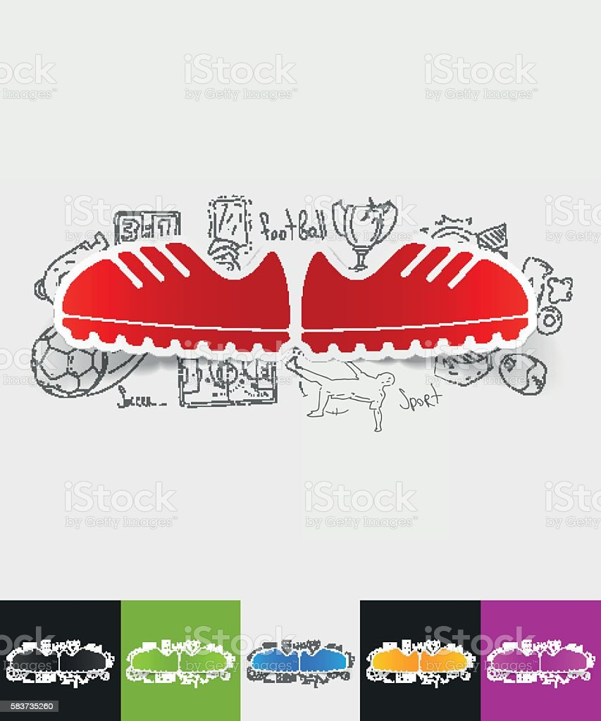 sneakers paper sticker with hand drawn elements vector art illustration