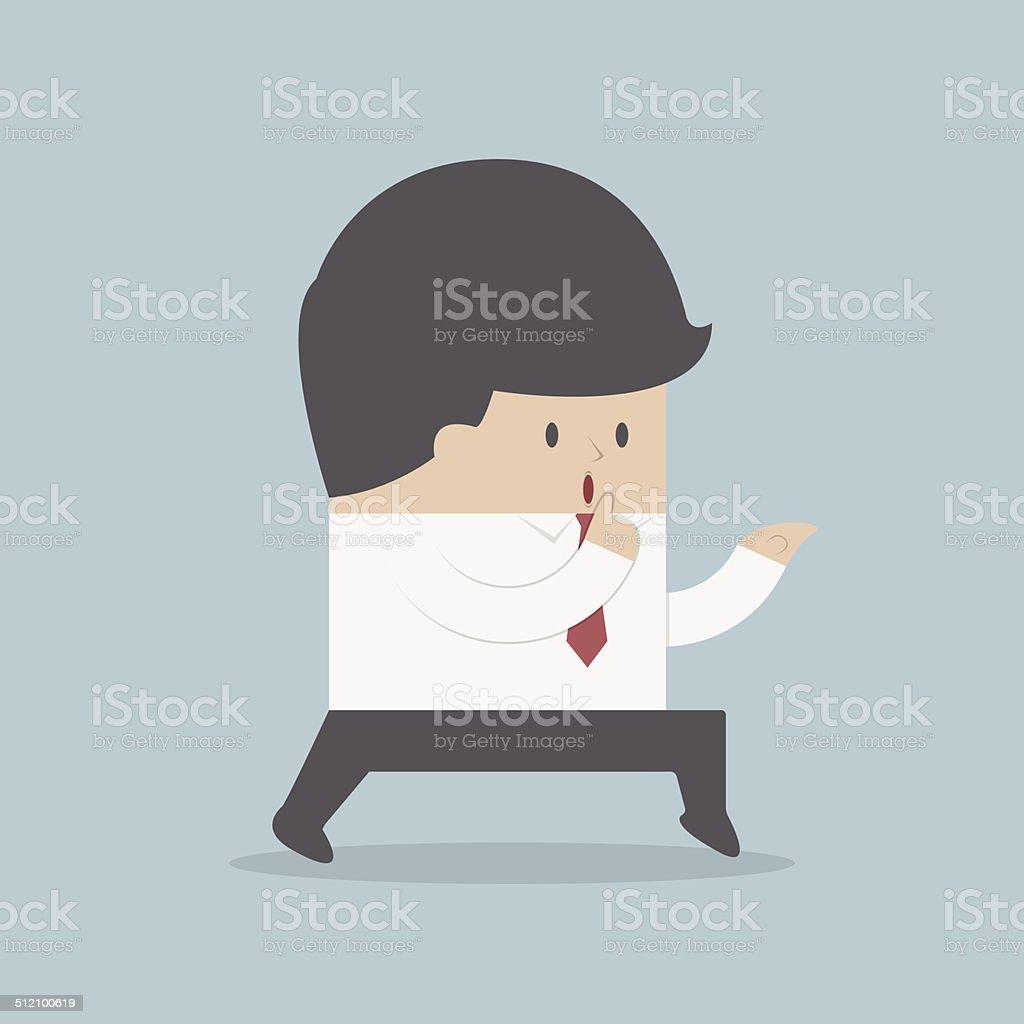 Sneaking businessman finger on lips vector art illustration