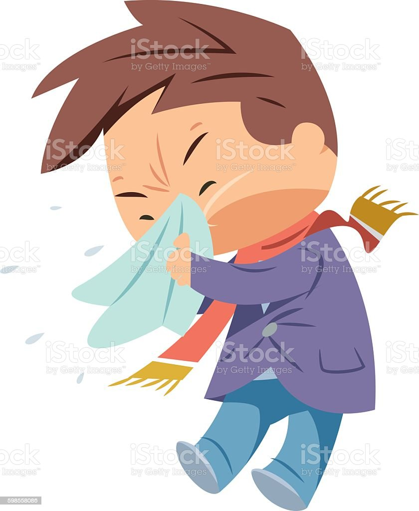 Sneezing vector art illustration