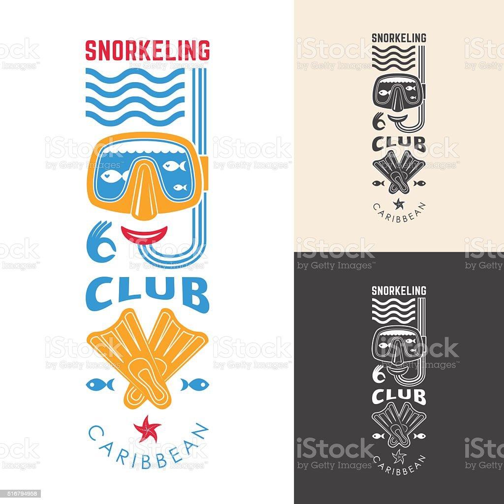 snorkeling club emblem vector art illustration