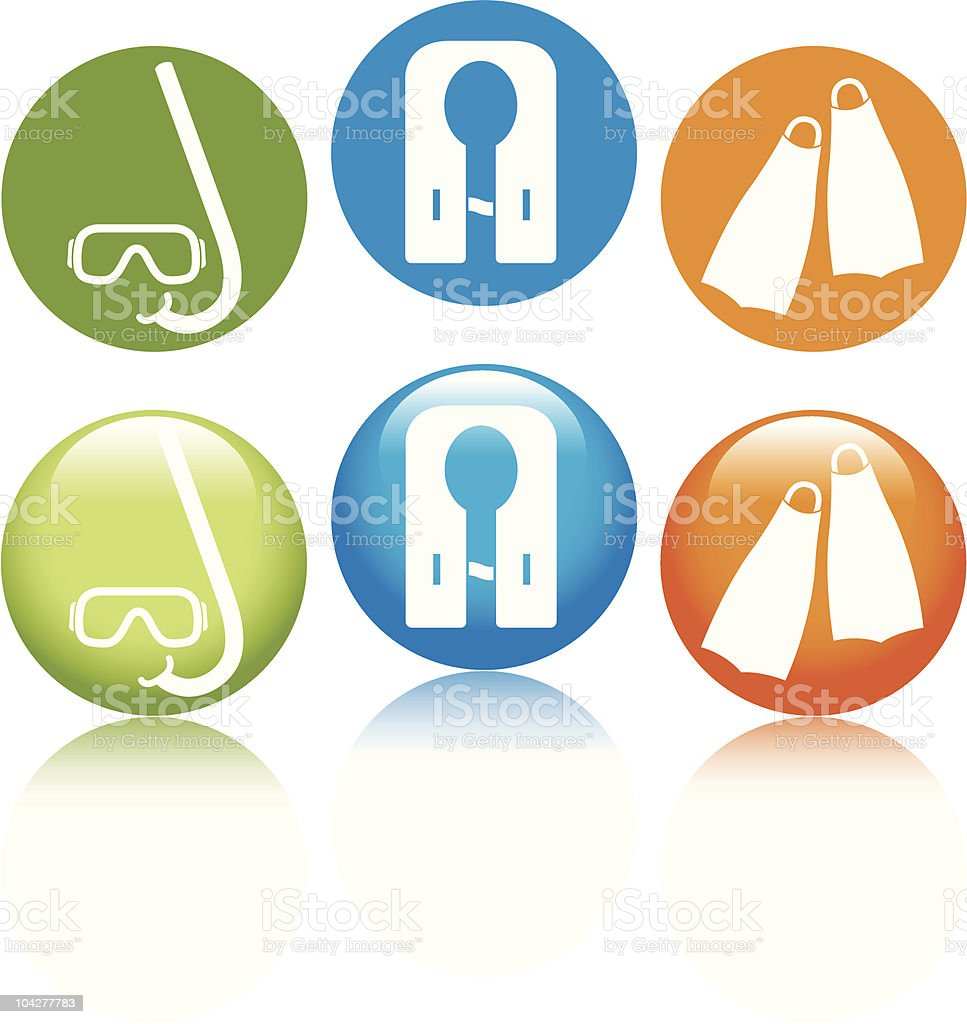 Snorkeling Icons royalty-free stock vector art