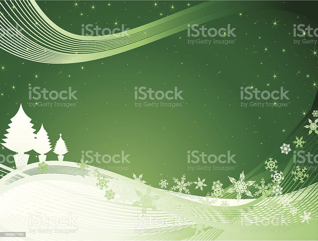 Snow and Stars Christmas Background Green royalty-free stock vector art