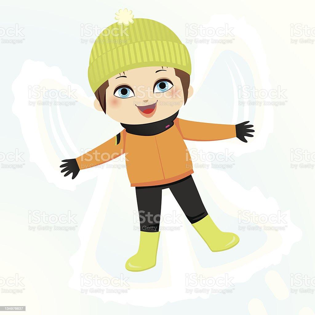Snow Angel Boy vector art illustration
