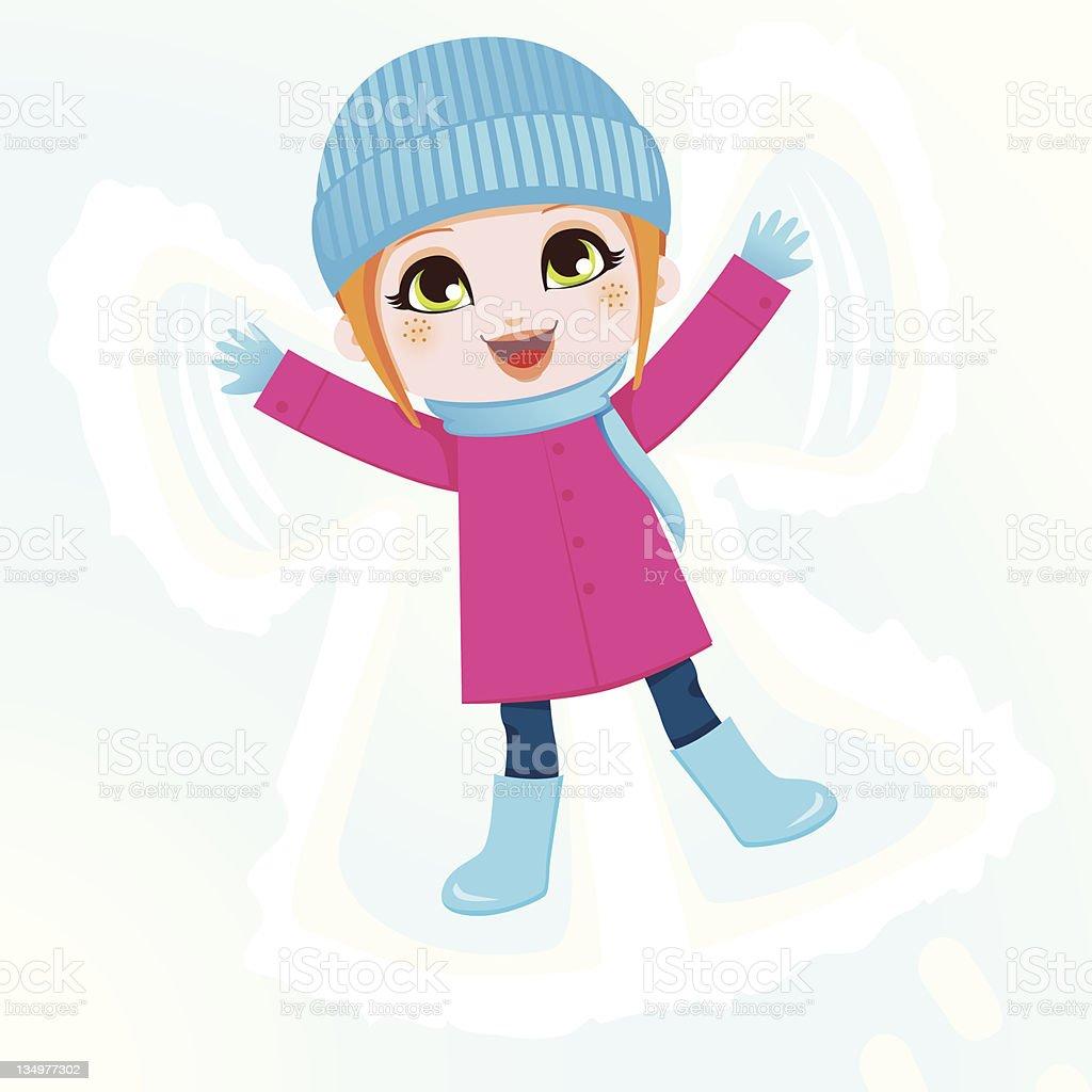 Snow Angel Girl vector art illustration