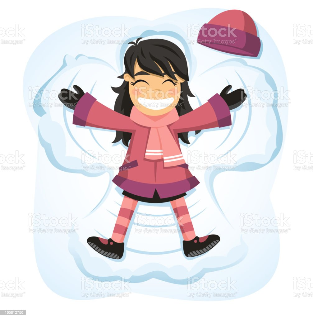 Snow angel happy girl enjoying snowy day vector art illustration