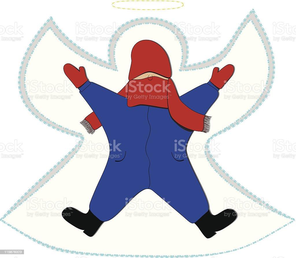 Snow Angel Kid vector art illustration