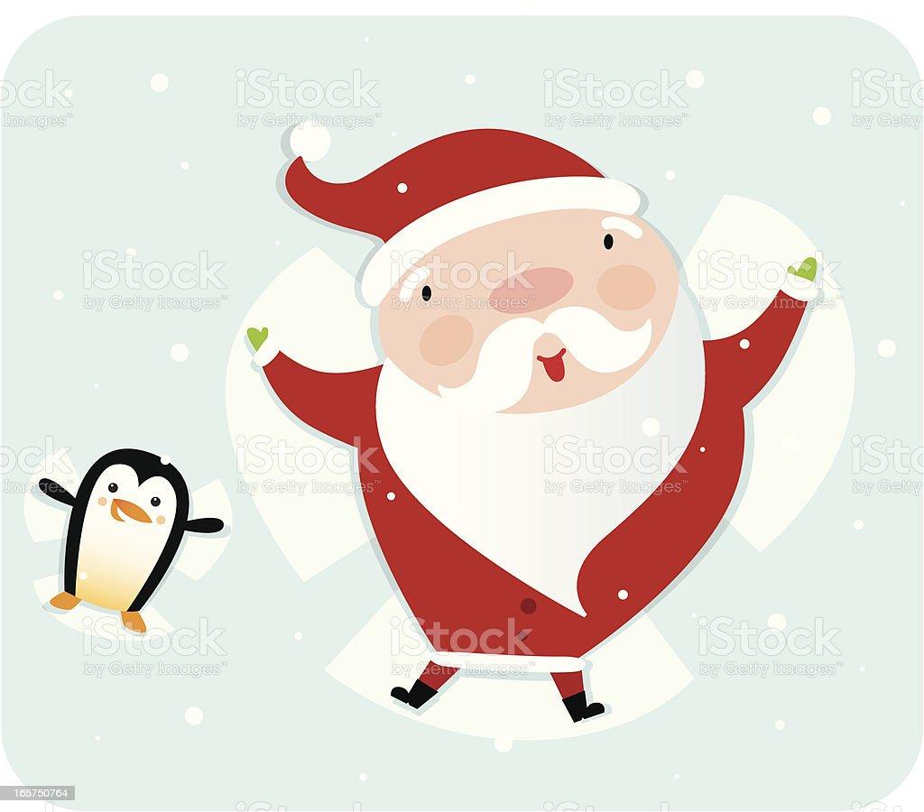 Snow Angel Santa and Friend vector art illustration