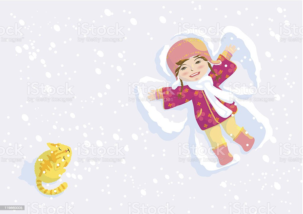 Snow angel vector art illustration