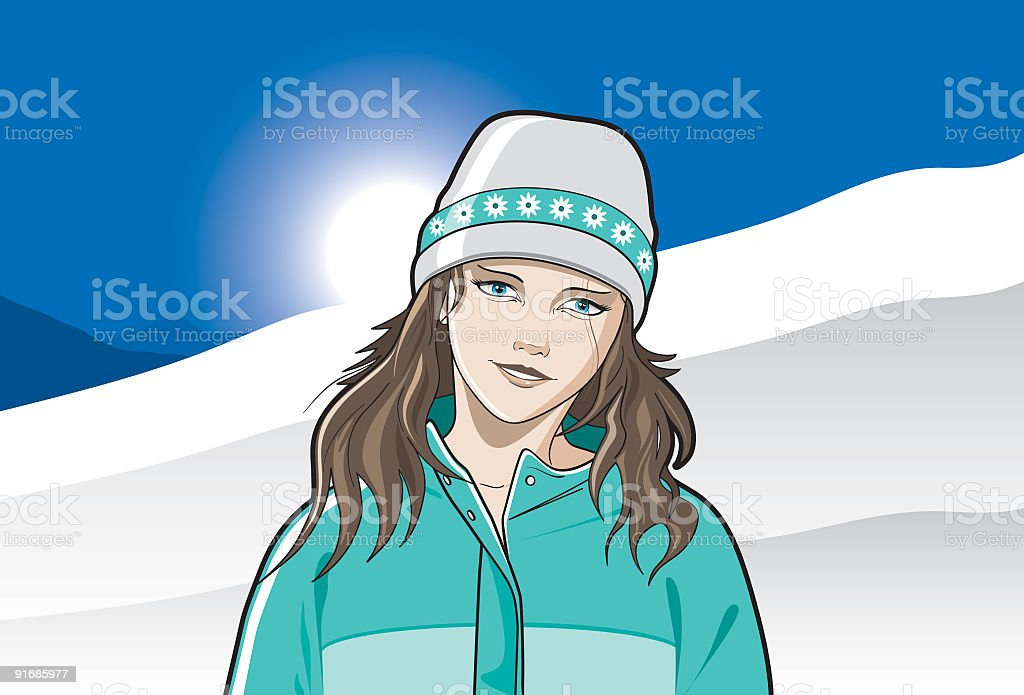 Snow babe standing infront of the ski slopes royalty-free stock vector art