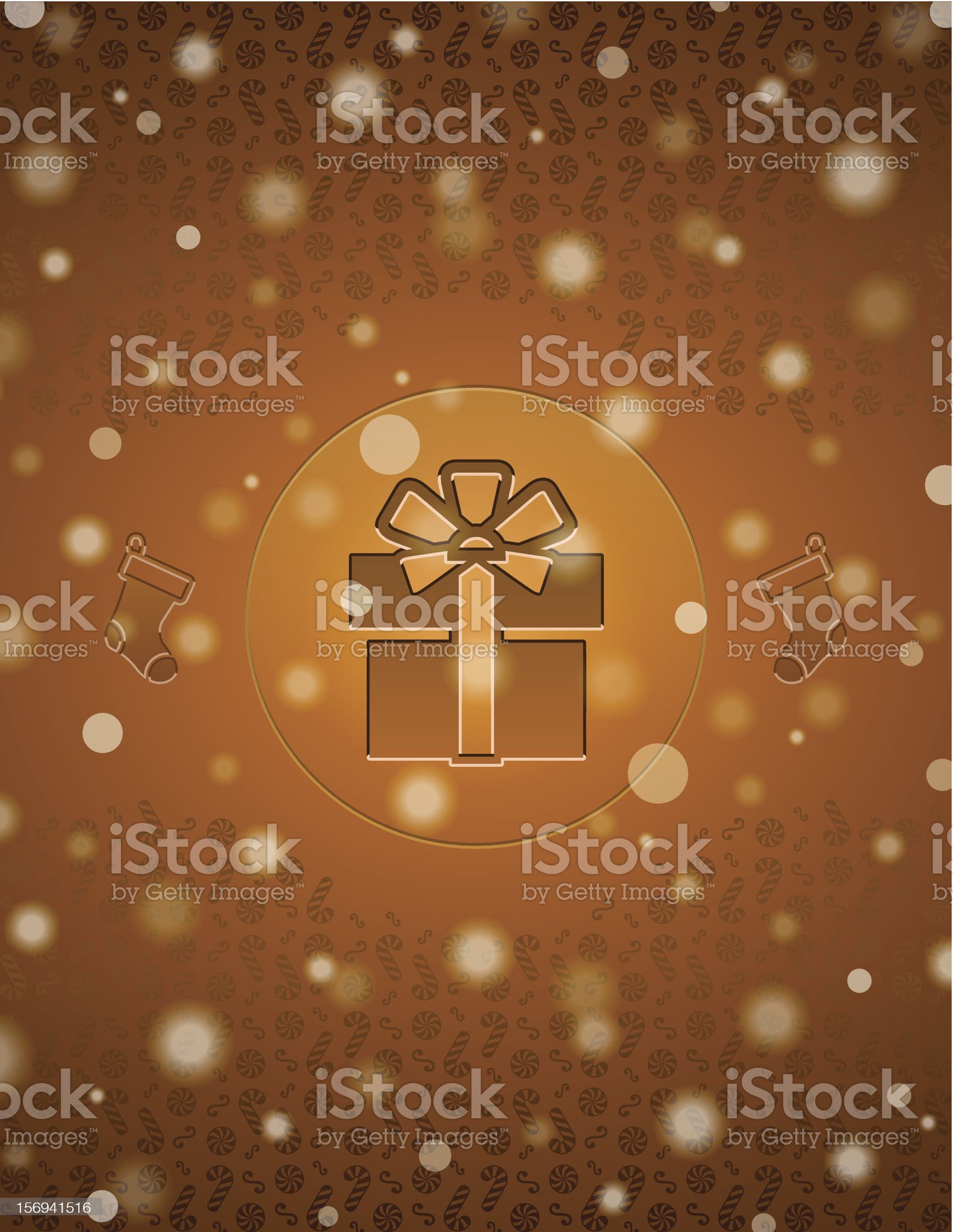 Snow background with gift and christmas stocking royalty-free stock photo