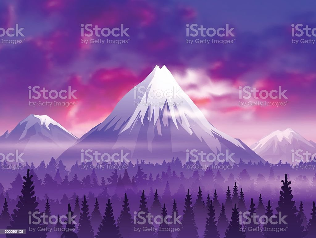 Snow capped Mountain Landscape at Sunset with Clouds vector art illustration