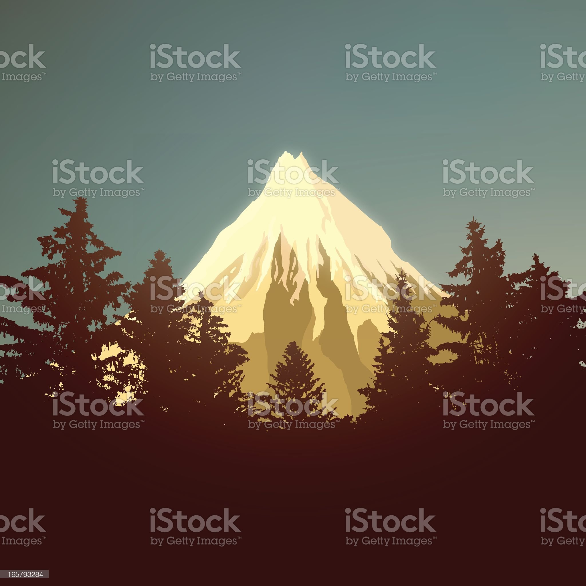 Snow capped mountain landscape royalty-free stock vector art