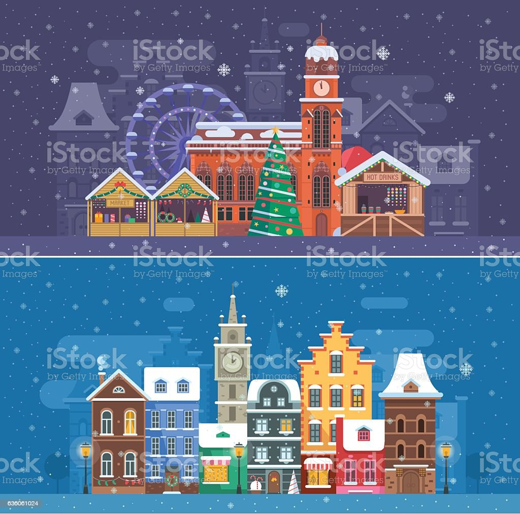 Snow City and Winter Festival Banners vector art illustration