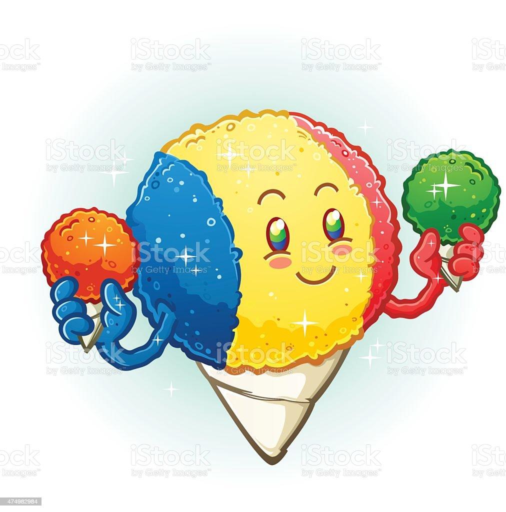 Snow Cone Cartoon Character Holding Frozen Flavored Ice Treats vector art illustration