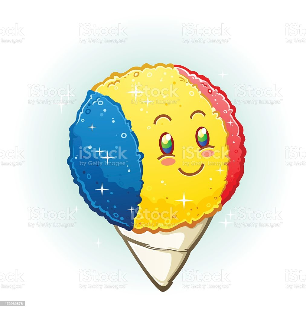 Snow Cone Cartoon Character Smiling with Rosy Cheeks vector art illustration