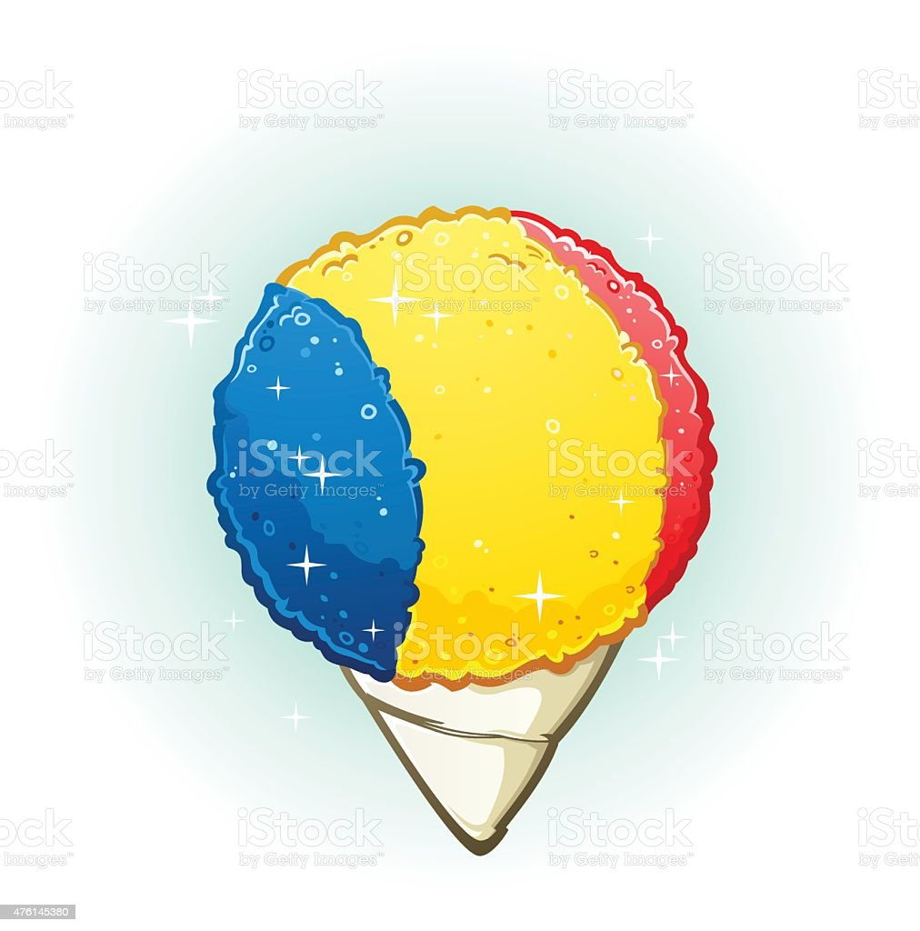 Snow Cone Cartoon Illustration vector art illustration