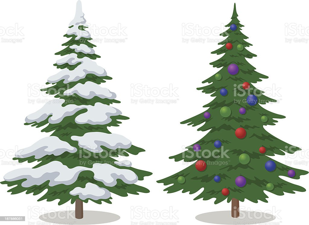 A snow covered Christmas tree by a tree with ornaments vector art illustration