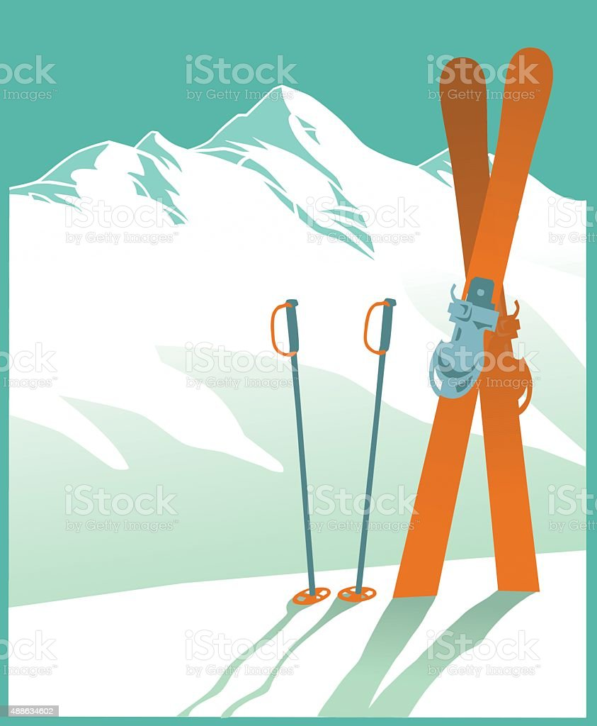 Snow Covered Mountain and Skiing - Winter Sport vector art illustration