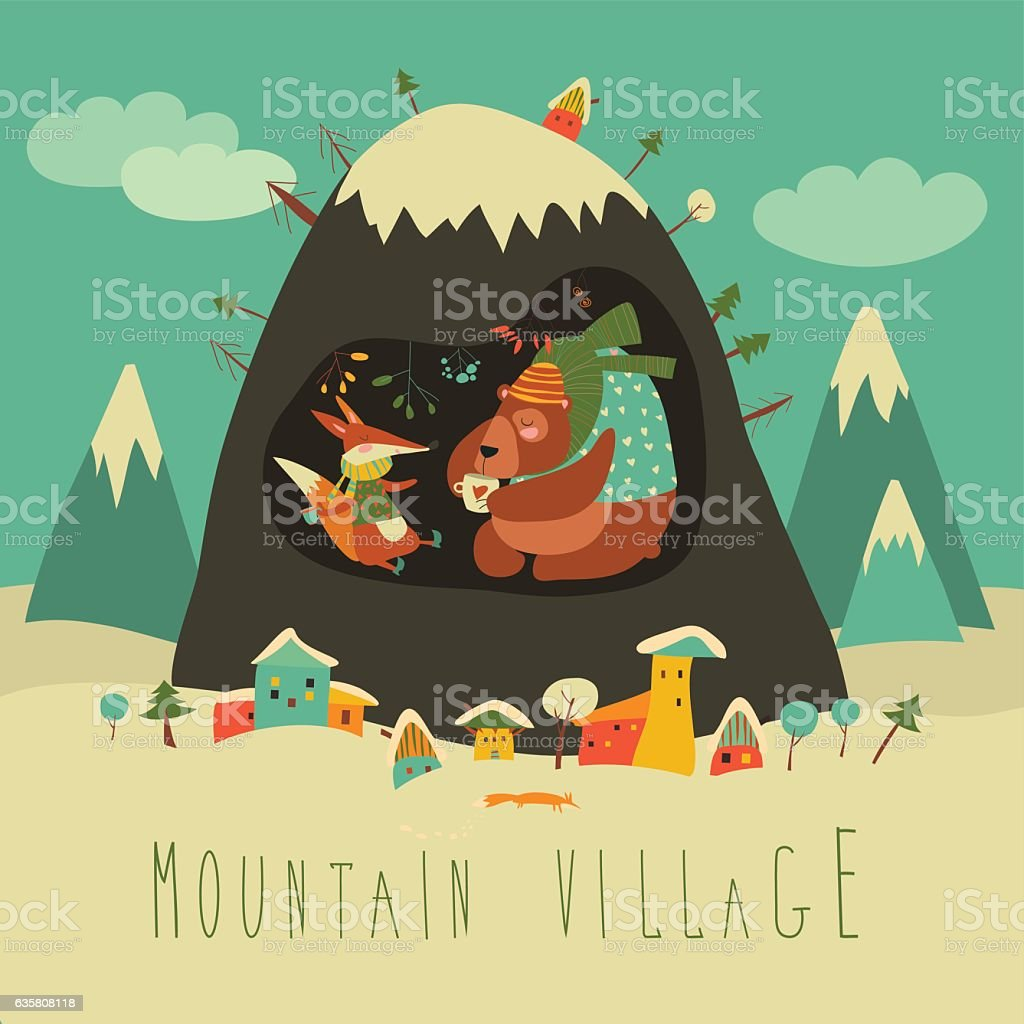 Snow covered village by the mountain with bear and fox vector art illustration