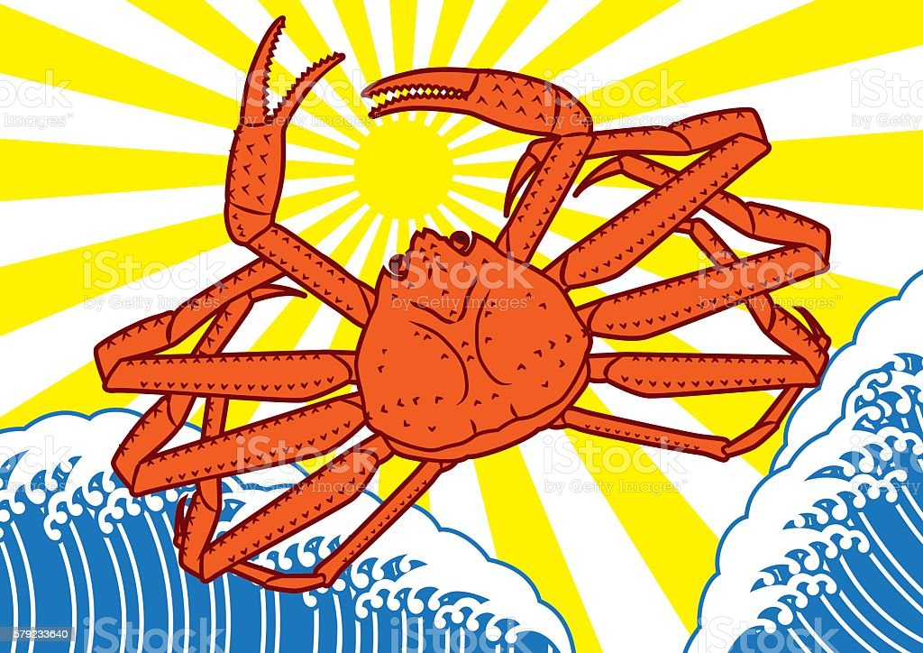 Snow crab and waves. Good catch flag. Japanese style vector art illustration