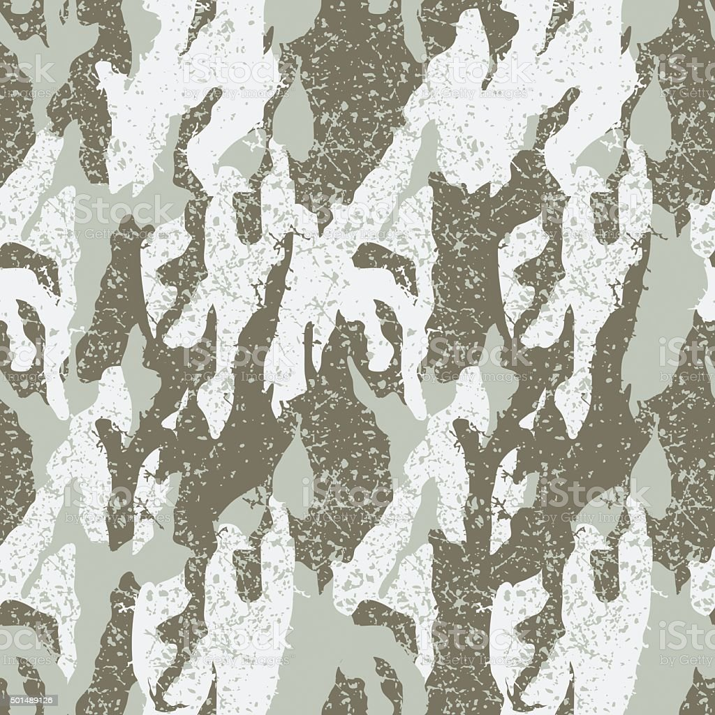 Snow distressed camouflage seamless pattern vector art illustration