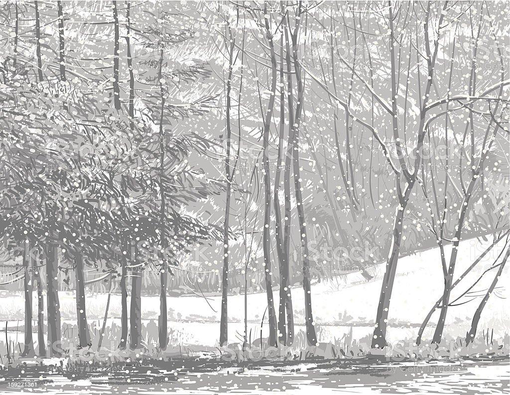 Snow fall 1 royalty-free stock vector art