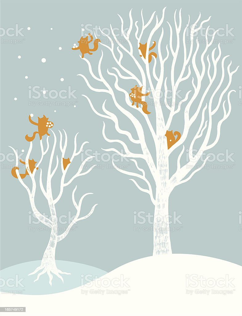 Snow fight vector art illustration