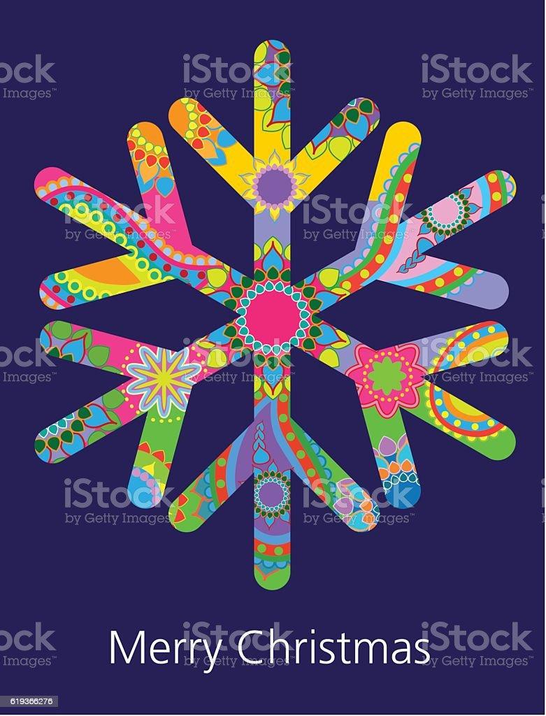 Snow flake Greeting vector art illustration
